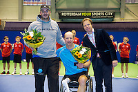 December 20, 2014, Rotterdam, Topsport Centrum, Lotto NK Tennis, Mens doubles wheelchair final,  runners up Ronald Vink(M) with his partner Rick Molier, right KNLTB director Erik Poel<br /> Photo: Tennisimages/Henk Koster