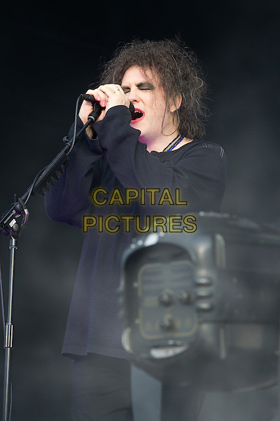 """The Cure - Robert Smith.""""MAXIDROM 2012"""" Festival, Airfield """"Tushino"""", Moscow, Russia..June 11th, 2012.on stage in concert live gig performance music half length black top make-up singing .CAP/PER/SB.©SB/PersonaStars/CapitalPictures"""