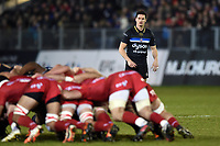 Freddie Burns of Bath Rugby watches a scrum. European Rugby Champions Cup match, between Bath Rugby and the Scarlets on January 12, 2018 at the Recreation Ground in Bath, England. Photo by: Patrick Khachfe / Onside Images