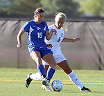 SIOUX FALLS, SD - SEPTEMBER 5: Nicole Potthoff #16 from Nebraska Kearney battles for the ball with Alexandria Scott #6 from the University of Sioux Falls in the first half of their game Friday evening in Sioux Falls.  (Photo by Dave Eggen/Inertia)