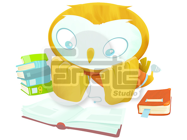 Illustrative image of anthropomorphized owl reading book representing education