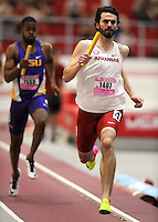NWA Democrat-Gazette/ANDY SHUPE<br /> Arkansas senior Eric Janise leads the field n the 4x400-meter relay Saturday, Feb. 11, 2017, during the Tyson Invitational in the Randal Tyson Track Center in Fayetteville. Visit nwadg.com/photos to see more photographs from the meet.
