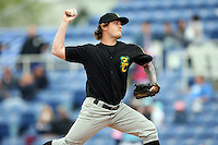 May 3, 2009:  Pitcher Bubbie Buzachero of the New Hampshire Fisher Cats, Eastern League Class-AA affiliate of the Toronto Blue Jays, delivers a pitch during a game at the NYSEG Stadium in Binghamton, NY.  Photo by:  Mike Janes/Four Seam Images
