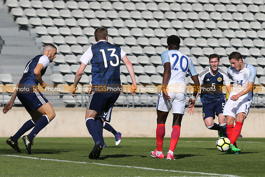 Elliott Embleton scores England's second goal during England Under-18 vs Scotland Under-20, Toulon Tournament Semi-Final Football at Stade Parsemain on 8th June 2017