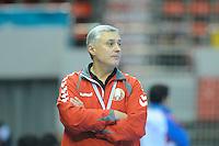 Belarus coach Uladzimir Zhuk at the match against South Korea