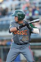Bryant Flete #28 of the Boise Hawks bats against the Everett AquaSox at Everett Memorial Stadium on July 25, 2014 in Everett, Washington. Everett defeated Boise, 2-1. (Larry Goren/Four Seam Images)