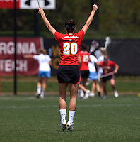 Karissa Taylor (20) of Maryland celebrates a goal during the ACC women's lacrosse tournament finals in College Park, MD.  Maryland defeated North Carolina, 10-5.