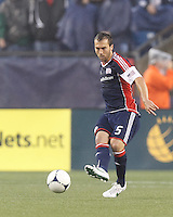 New England Revolution defender AJ Soares (5) passes the ball. In a Major League Soccer (MLS) match, the New England Revolution defeated Chicago Fire, 2-0, at Gillette Stadium on June 2, 2012.