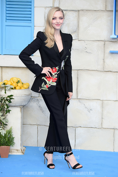Amanda Seyfried arriving for the &quot;Mama Mia! Here We Go Again&quot; world premiere at the Eventim Apollo, Hammersmith, London, UK. <br /> 16 July  2018<br /> Picture: Steve Vas/Featureflash/SilverHub 0208 004 5359 sales@silverhubmedia.com