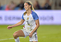 San Jose, CA - November 10, 2016: The U.S. Women's National team go up 5-1 over Romania in first half play in an international friendly game at Avaya Stadium.