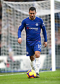 2nd February 2019, Stamford Bridge, London, England; EPL Premier League football, Chelsea versus Huddersfield Town; Eden Hazard of Chelsea taking the ball to the corner flag