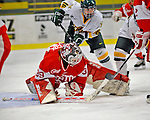 9 February 2008: Boston University Terriers' goaltender Allyse Wilcox, a Junior from Grand Blanc, Michigan, makes a save against the University of Vermont Catamounts at Gutterson Fieldhouse in Burlington, Vermont. Wilcox recorded 22 stops, as the Terriers shut out the Catamounts 2-0 in the Hockey East matchup...Mandatory Photo Credit: Ed Wolfstein Photo
