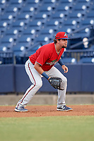 Fort Myers Miracle first baseman Robby Rinn (8) during a game against the Tampa Tarpons on May 2, 2018 at George M. Steinbrenner Field in Tampa, Florida.  Fort Myers defeated Tampa 5-0.  (Mike Janes/Four Seam Images)