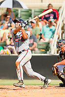 Cory Brownsten #30 of the Rome Braves follows through on his swing against the Kannapolis Intimidators at CMC-Northeast Stadium on May 28, 2012 in Kannapolis, North Carolina.  The Intimidators defeated the Braves 6-4.  (Brian Westerholt/Four Seam Images)