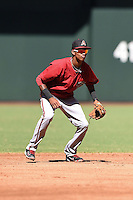 Arizona Diamondbacks shortstop Sergio Alcantara (1) during an Instructional League game against the Oakland Athletics on October 10, 2014 at Chase Field in Phoenix, Arizona.  (Mike Janes/Four Seam Images)