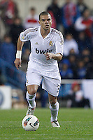 11.04.2012 MADRID, SPAIN - La Liga match played between At. Madrid vs Real Madrid (1-4) with hat-trick of Cristiano Ronaldo at Vicente Calderon stadium. The picture show Kepler Laveran Pepe (Portuguese/Brazilian defender of Real Madrid)