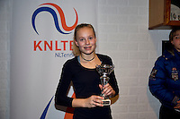 November 30, 2014, Almere, Tennis, Winter Youth Circuit, WJC,  Prizegiving, Nicole van Ginkel, girls 14 years 4th place.<br /> Photo: Henk Koster