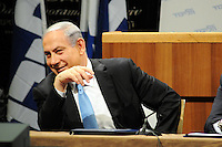 """Benjamin Netanyahu -Israeli Prime Minister at Likud conference Benjamin """"Bibi"""" Netanyahu , Israeli  9th and current Prime Minister of Israel since 2009"""