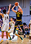 23 January 2019: UMBC Retriever Forward/Center Sam Schwietz, a Junior from Frisco, Texas, shoots for 3 in second half action against the University of Vermont Catamounts at Patrick Gymnasium in Burlington, Vermont. The Retrievers handed the Catamounts their first America East loss of the season 74-61. Mandatory Credit: Ed Wolfstein Photo *** RAW (NEF) Image File Available ***
