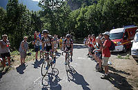 Albert Timmer (NLD/Giant-Alpecin) escorts John Degenkolb (DEU/Giant-Alpecin) over the top of the Lacets de Montvernier (2C/782m/3.4km, 8.2%)<br /> <br /> stage 18: Gap - St-Jean-de-Maurienne (187km)<br /> 2015 Tour de France