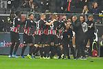 06.10.2019, Commerzbankarena, Frankfurt, GER, 1. FBL, Eintracht Frankfurt vs. SV Werder Bremen, <br /> <br /> DFL REGULATIONS PROHIBIT ANY USE OF PHOTOGRAPHS AS IMAGE SEQUENCES AND/OR QUASI-VIDEO.<br /> <br /> im Bild: Jubel ueber das Tor zum 1:1 durch Sebastian Rode (Eintracht Frankfurt #17)<br /> <br /> Foto © nordphoto / Fabisch