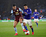 Anwar El Ghazi of Aston Villa and James Justin of Leicester City during the Premier League match at the King Power Stadium, Leicester. Picture date: 9th March 2020. Picture credit should read: Darren Staples/Sportimage