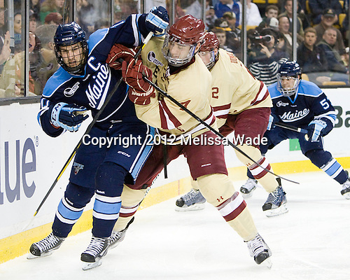 Brian Flynn (Maine - 10), Tommy Cross (BC - 4) - The Boston College Eagles defeated the University of Maine Black Bears 4-1 to win the 2012 Hockey East championship on Saturday, March 17, 2012, at TD Garden in Boston, Massachusetts.