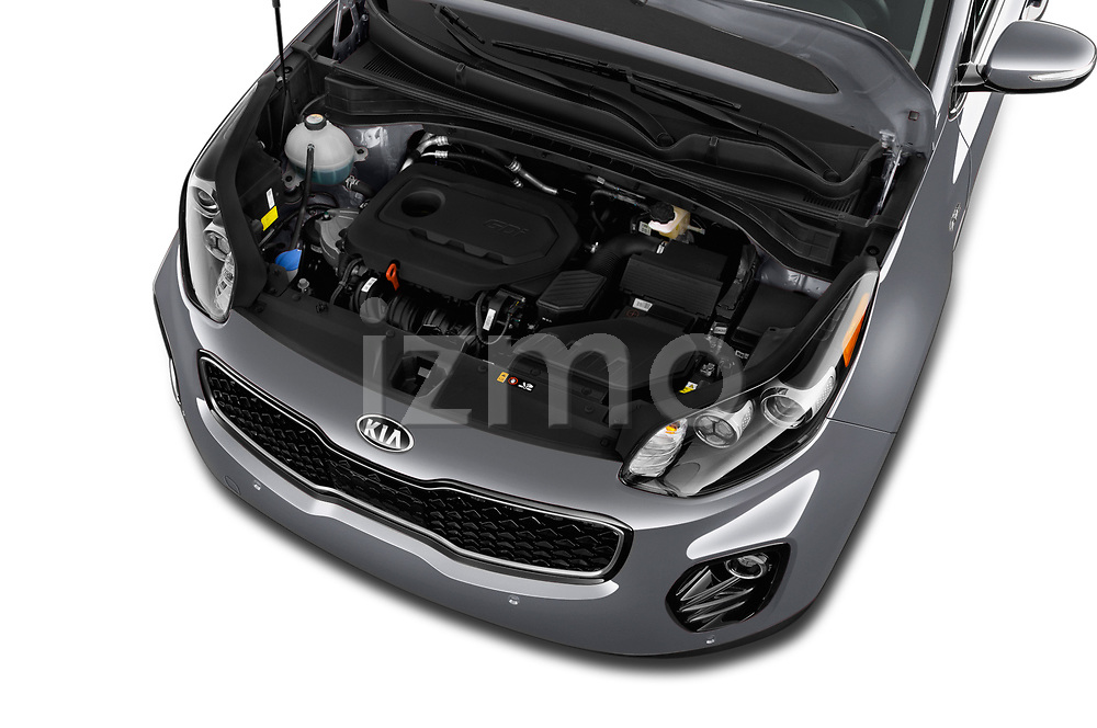 Car Stock 2018 KIA Sportage EX 5 Door SUV Engine  high angle detail view