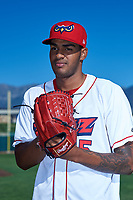 Orem Owlz pitcher Stiward Aquino (15) poses for a photo before a Pioneer League game against the Idaho Falls Chukars at The Home of the OWLZ on August 13, 2019 in Orem, Utah. Orem defeated Idaho Falls 3-1. (Zachary Lucy/Four Seam Images)