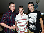 Shane Floyd, Lee Allen and Michael Matthews pictured at Shane Rogan's 21st birthday in the Thatch. Photo:Colin Bell/pressphotos.ie