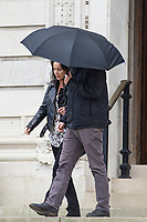 "Pictured: Ria Anthony leaving Cardiff Crown Court in Cardiff, Wales, UK. Friday 27 September 2019<br /> Re: A licensee and barmaid who assaulted a suspected thief have been sentenced at Cardiff Crown Court.<br /> Philip-Lee Kinsey, 36, believed the victim had stolen money along with a charity box from the bar of The Lounge in Bridgend. <br /> After persuading the victim to stay with the promise of buying him another drink, the man was then grabbed by two other customers who held him from behind while Kinsey punched him in the face several times and kicked him.<br /> Ria Anthony, 38, worked at the pub and joined in the assault also punching the victim to the face multiple times.<br /> Both pleaded guilty to causing actual bodily harm, the assault taking place on 21 October 2018.<br /> Jeff Mark, of the CPS, said: ""Rather than reporting their concerns to the police, the defendants took the law into their own hands, carrying out a cowardly attack on a person unable to protect themselves.<br /> ""Vigilante violence is not acceptable and those who try to by-pass the proper justice system are likely to find themselves before the Court facing criminal charges."""