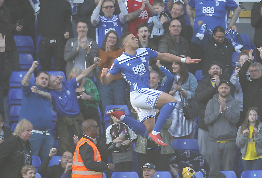 Birmingham City's Che Adams celebrates scoring his sides first goal <br /> <br /> Photographer Mick Walker/CameraSport<br /> <br /> The EFL Sky Bet Championship - Birmingham City v Blackburn Rovers - Saturday 23rd February 2019 - St Andrew's - Birmingham<br /> <br /> World Copyright © 2019 CameraSport. All rights reserved. 43 Linden Ave. Countesthorpe. Leicester. England. LE8 5PG - Tel: +44 (0) 116 277 4147 - admin@camerasport.com - www.camerasport.com