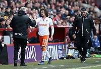Blackpool's Manager Terry McPhillips embraces Nya Kirby after he is substituted<br /> <br /> Photographer David Shipman/CameraSport<br /> <br /> The EFL Sky Bet League One - Charlton Athletic v Blackpool - Saturday 16th February 2019 - The Valley - London<br /> <br /> World Copyright © 2019 CameraSport. All rights reserved. 43 Linden Ave. Countesthorpe. Leicester. England. LE8 5PG - Tel: +44 (0) 116 277 4147 - admin@camerasport.com - www.camerasport.com