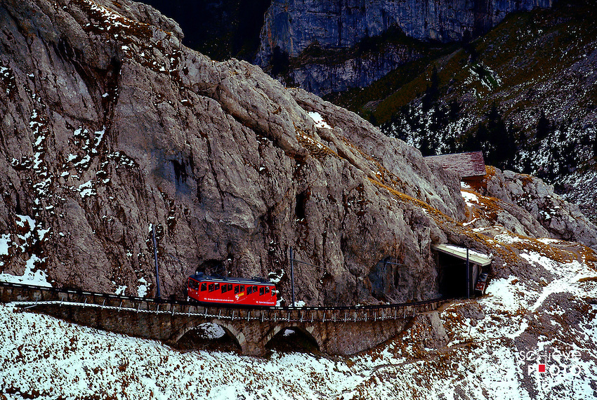 The top of Mount Pilatus can be reached with the Pilatus Railway, the world's steepest cogwheel railway from Alpnachstad, Switzerland.