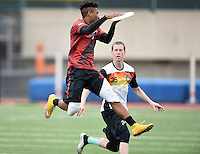 May 24, 2015; Los Angeles, CA, USA; Los Angeles Aviators cutter Husayn Carnegie (9) is defended by San Francisco Flamethrowers cutter Lucas Dallman (35) in an American Ultimate Disc League (AUDL) match at Occidental College. The Aviators defeated the Flamethrowers 23-22. <br /> <br /> Photo by Kirby Lee