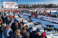 Brent Sass leaves the start line on Willow Lake during the Re-Start of the 2016 Iditarod in Willow, Alaska.  March 06, 2016
