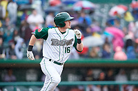 Fort Wayne TinCaps Nick Gatewood (16) runs to first base during a Midwest League game against the Kane County Cougars at Parkview Field on May 1, 2019 in Fort Wayne, Indiana. Fort Wayne defeated Kane County 10-4. (Zachary Lucy/Four Seam Images)