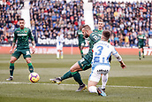 10th February 2019,  Estadio Municipal de Butarque, Leganes, Spain; La Liga football, Leganes versus Real Betis; Jese Rodriguez (Betis) jigs past Bustinza (leg) to get his shot on goal