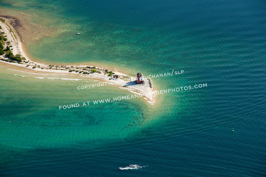 Round Island Light lighthouse just opposite entrance to Mackinac Island harbor, Michigan