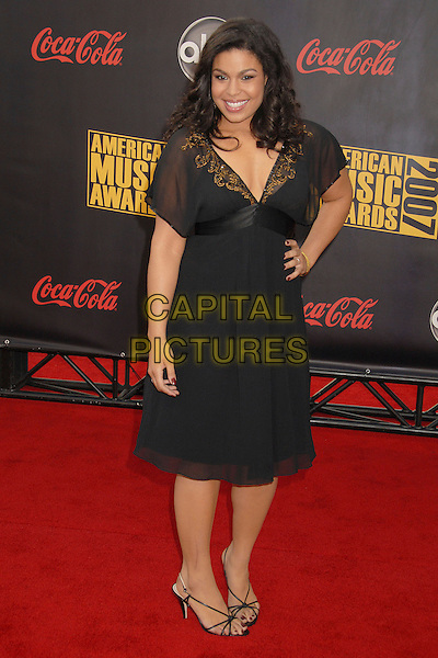 JORDIN SPARKS.2007 American Music Awards at the Nokia Theatre LA Live, Los Angeles, California, USA..November 18th, 2007.full length dress beads beaded sheer hand on hip .CAP/ADM/BP.©Byron Purvis/AdMedia/Capital Pictures.