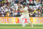 3rd December 2017, Adelaide Oval, Adelaide, Australia; The Ashes Series, Second Test, Day 2, Australia versus England; Shaun Marsh of Australia plays a defensive  shot to the off side