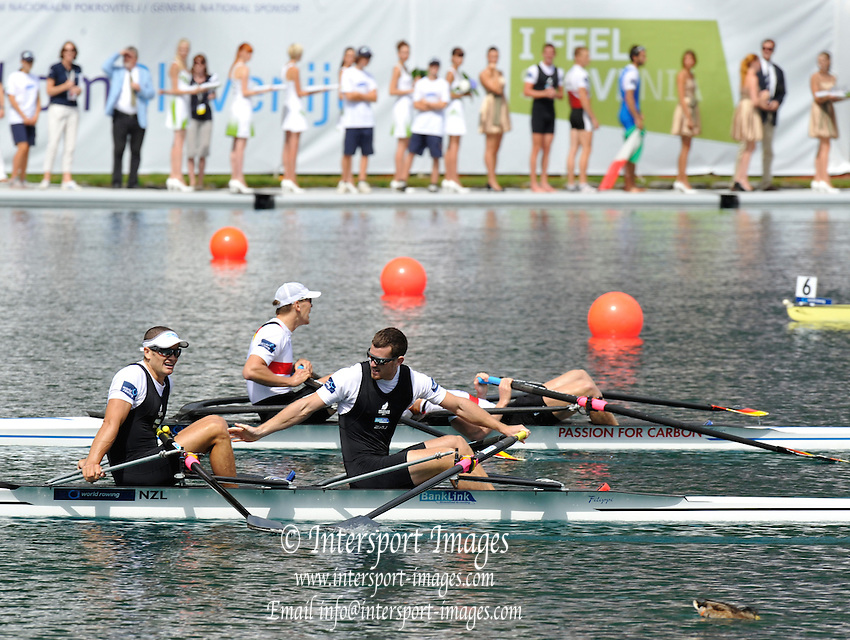 Bled, SLOVENIA. NZL M2X,  Bow Nathan COHEN and Joseph SULLIVAN, celebrate after winning the Men's double sculls final at the  2011 FISA World Rowing Championships, Lake Bled. Friday  02/09/2011  [Mandatory Credit; Peter Spurrier/ Intersport Images]