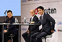 October 6, 2017, Tokyo, Japan - (L-R) Japan's online commerce giant Rakuten president Hiroshi Mikitani, Fukushima's Minamisoma city mayor Katsunobu Sakurai and convenience store chain Lawson president Sadanobu Takemasu announce Rakuten and Lawson will start a trial service to deliver Lawson's goods with Rakuten's drone in Minamisoma city end of this month in Tokyo on Friday, October 6 2017. Minamisoma's Odaka district was designated as a district under evacuation orders  due to the nuclear accident of TEPCO's Fukushima Dai-ichi nuclear plant caused by tsunami and Lawson opened the first convenience store in the area last year.    (Photo by Yoshio Tsunoda/AFLO) LWX -ytd-