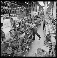 loom fixer, Arbeka Webbing, Pawtucket, RI textile mill ca 1974