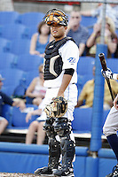 July 11, 2009:  Catcher Jonathan Jaspe of the Dunedin Blue Jays during a game at Dunedin Stadium in Dunedin, FL.  Dunedin is the Florida State League High-A affiliate of the Toronto Blue Jays.  Photo By Mike Janes/Four Seam Images
