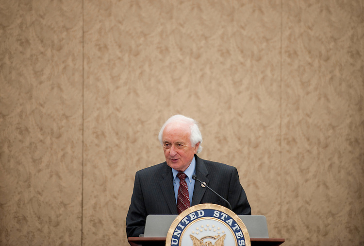UNITED STATES - JUNE 27: Rep. Sander Levin, D-Mich., holds a news conference in the Capitol Visitors Center to discuss the pending free trade agreements with South Korea, Panama and Colombia on Monday, June 27, 2011. (Photo By Bill Clark/Roll Call)