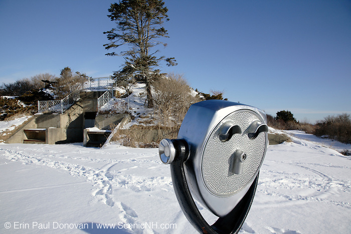 Twin Lights State Park during the winter months. Located in Cape Elizabeth, Maine USA,  which is part of the New England seacoast.  .Notes: