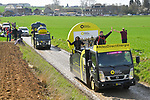 The publicity caravan ahead of the race on one of the wetter cobbled sectors before the 116th edition of Paris-Roubaix 2018. 8th April 2018.<br /> Picture: ASO/Bruno Bade | Cyclefile<br /> <br /> <br /> All photos usage must carry mandatory copyright credit (&copy; Cyclefile | ASO/Bruno Bade)