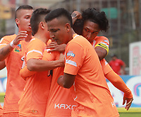 ENVIGADO- COLOMBIA, 09-09-2018.Yeison Guzman  jugador del Envigado celebra su gol contra  Patriotas Boyacá durante partido por la fecha 9 de la Liga Águila II 2018 jugado en el estadio Polideportivo Sur de la ciudad de Medellín. / Yeison Guzman player of Envigado celebrates his goal against of Patriotas Boyaca during the match for the date 9 of the Liga Aguila II 2018 played at Polideportivo Sur stadium in Medellin  city. Photo: VizzorImage / Leon Monsalve/ Contribuidor