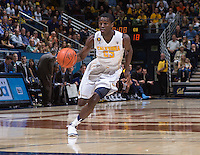 California's Jabari Bird dribbles down the court during a game at Haas Pavilion in Berkeley, California on March 8th, 2014. California defeated Colorado 66 - 65